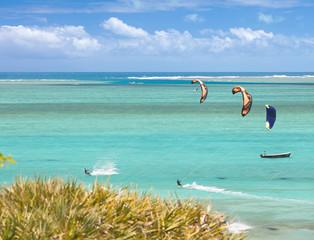 kite surf à l'île Rodrigues, lagon de l'anse Mourouk