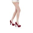 Beautiful female legs in stockings on high heels