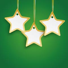 Christmas 3 Golden Stars Green Background
