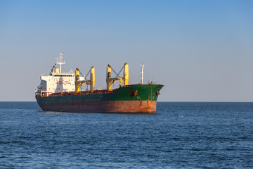 Bulk carrier.Cargo ship sails on the Sea