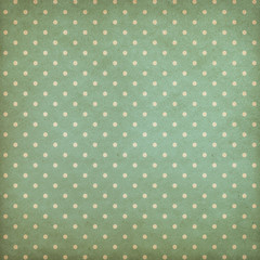 Retro polka dot blue or cyan pattern on old wallpaper
