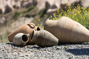 old ceramic pots in Cappadocia, Turkey.