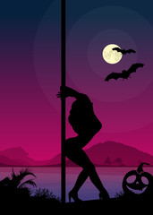 Exotic dancer in front of river and full moon Halloween Style