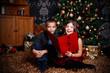 Leinwanddruck Bild - Little children singing a song at Christmas Eve