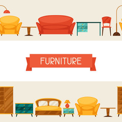 Interior seamless pattern with furniture in retro style.