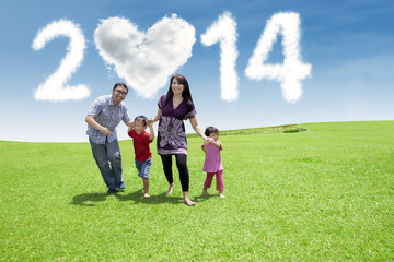 Happy family enjoying new year day