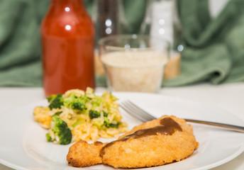Breaded Chicken Breast with Broccoli Rice
