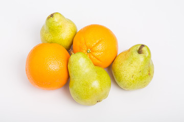 Oranges and Pears on White