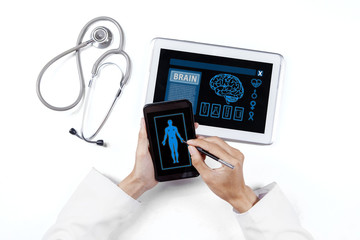 Human research with smartphone and tablet