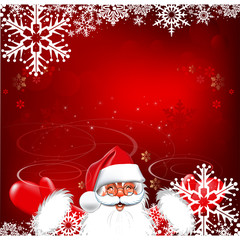 Happy New Year, cute Santa. Christmas background