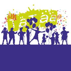 children sihouette confetti balloons