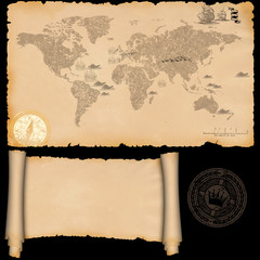 Medieval parchment and ancient map.