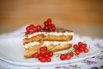honey cake with cream and berries