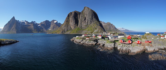 Panorama view of village Reine, Norway