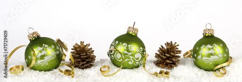 Leinwanddruck Bild Green christmas balls