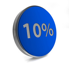 Ten percent circular icon on white background