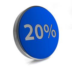 Twenty percent circular icon on white background