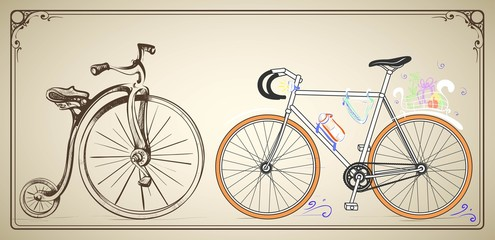 Vintage stylized image of modern and historical bike juxtaposed