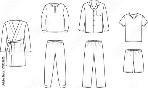 Vector illustration of men's sleepwear - 71729803