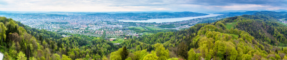 Panorama of Zurich city and lake Zurich