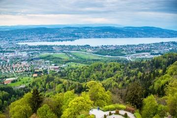 Aerial view of Zurich city and lake Zurich