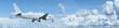 Jet with a blank fuselage in flight
