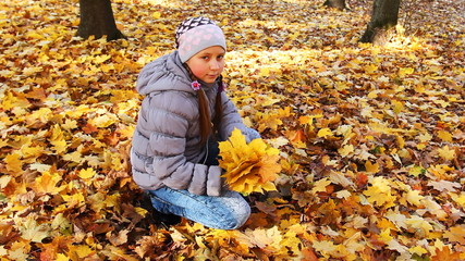 nice teen girl sits squatted and collects yellow leaves in park