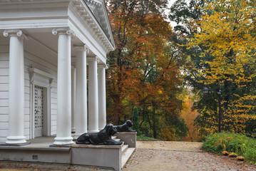 Temple of Sybil, autumn in the romantic park, Warsaw
