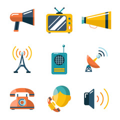 Flat communication business information media web icons set