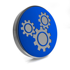 Settings circular icon on white background