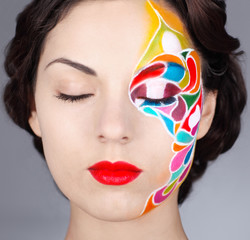 Portrait of a beautiful model with bright make up