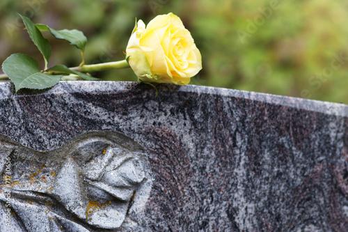 Leinwandbild Motiv Friedhof, gelbe Rose auf Grabstein, Textraum, Copyspace