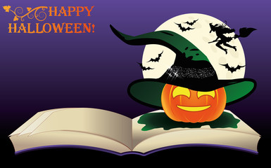 Happy Halloween. Witch old book and moon, vector