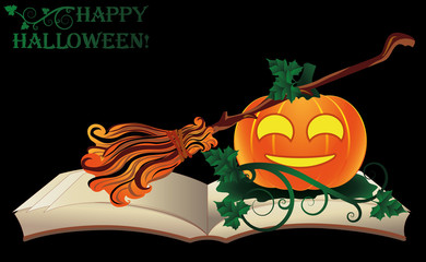 Happy Halloween. Witch old book with pumpkin, vector