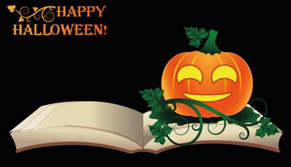 Happy Halloween. Open old book with pumpkin, vector illustration