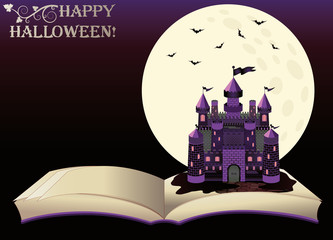 Happy Halloween. Old book with witch castle, vector