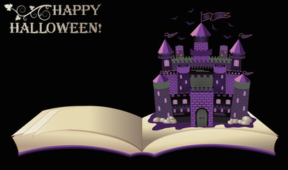 Happy Halloween. open book with old castle, vector