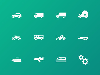 Cars and Transport icons on green background.