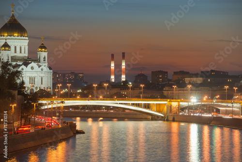 Staande foto Praag Moskva River, Big Stone Bridge and Cathedral of Christ the Savio