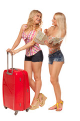 two girls wearing jeans shorts with map and red suitcase