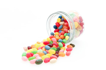 jelly beans with a glass jar