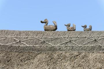 straw ducks on straw roof  at Porlock, Somerset