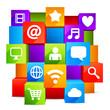 Colorful communication and media symbols.