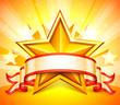 Zdjęcia na płótnie, fototapety, obrazy : Ribbon and golden star on bright background.