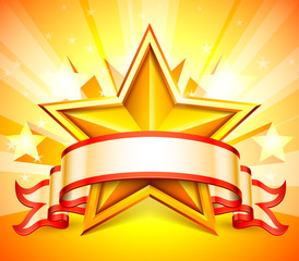 Ribbon and golden star on bright background.