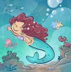 sirena en el mar