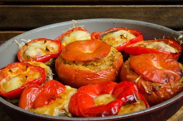 peppers and large mushrooms stuffed with rice and vegetables