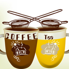 Cute vector background with cups of tea and coffee