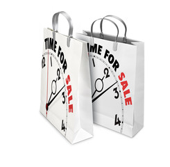 Two Shopping Bags opened and closed with Time For Sale. Retail b