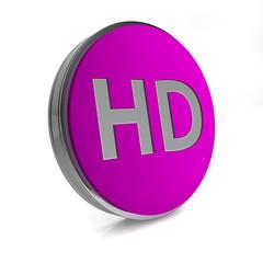 HD circular icon on white background